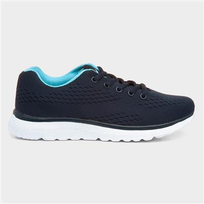 Womens Knitted Lace Up Trainer in Navy