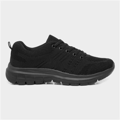 Womens Black Lace Up Flat Trainer