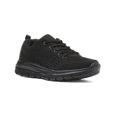 Womens Black Lace Up Flat Trainer-84072