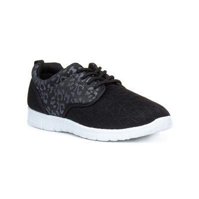 Womens Black Leopard Print Lace Up Trainer