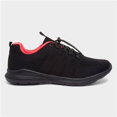Womens Black Bungee Lace Trainer