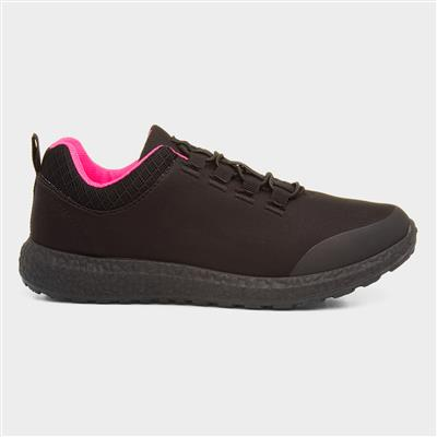Womens Black & Pink Bungee Lace Trainer