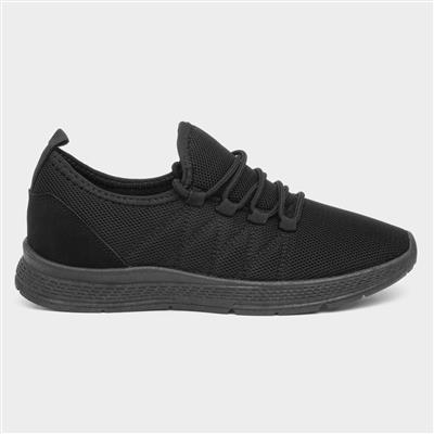 Womens Black Lightweight Bungee Lace Trainer