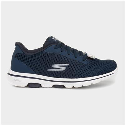 Go Walk 5 Womens Navy Lace Up Trainer