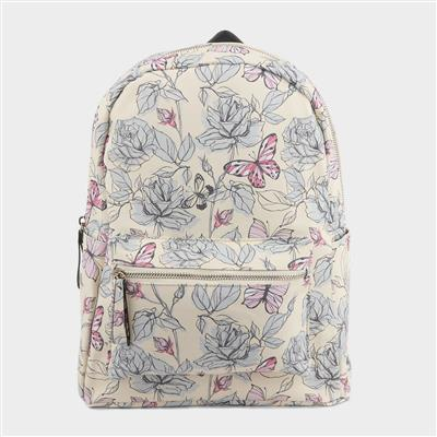 Cream and Multi Colour Butterfly Backpack