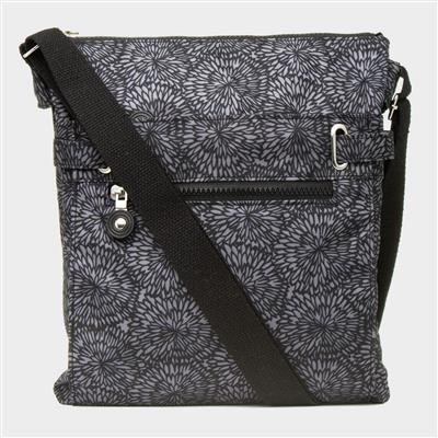 Black and Grey Patterned Cross Body Handbag