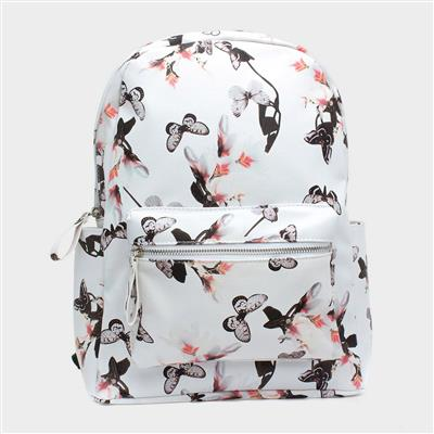 White & Multi Colour Butterfly Backpack