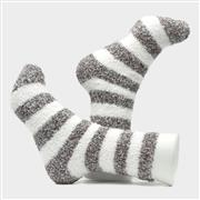 Shoeology Womens 2 Pack Grey & White Fluffy Socks (Click For Details)