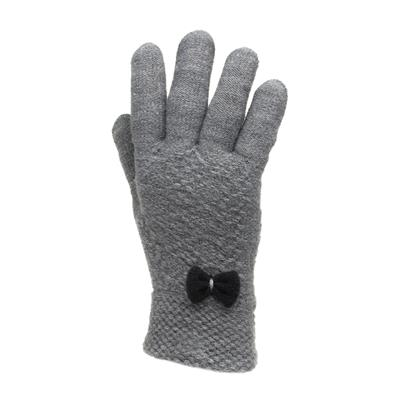 Womens Grey Knitted Gloves