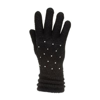 Womens Black Diamante Gloves