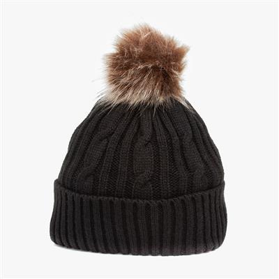 Womens Black Knitted Bobble Hat