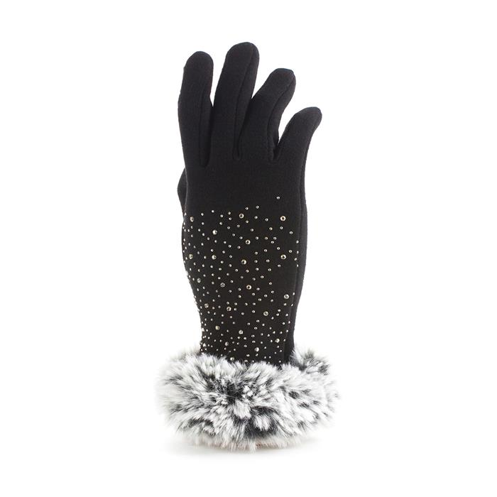 Vintage Style Gloves- Long, Wrist, Evening, Day, Leather, Lace Lilley Womens Black Diamante Faux Fur Trim Glove £2.99 AT vintagedancer.com