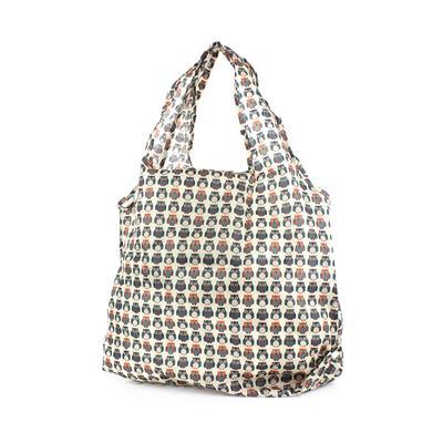 Beige Owl Printed Shopper Bag