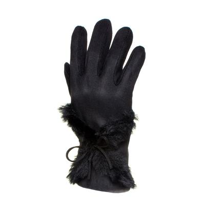 Womens Black Faux Fur Glove with Bow