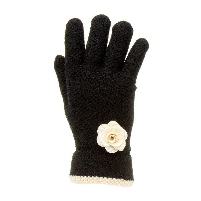 Vintage Style Gloves- Long, Wrist, Evening, Day, Leather, Lace Lilley Womens Black Glove with Cream Flower £4.99 AT vintagedancer.com