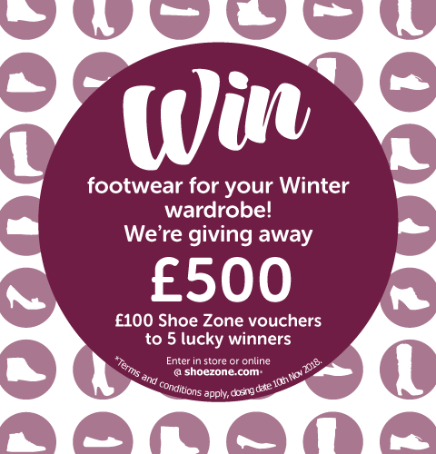 Enter our competition today to be in with a chance of winning footwear for your Winter wardrobe, we're giving away £100 Shoe Zone vouchers to 5 lucky winners.