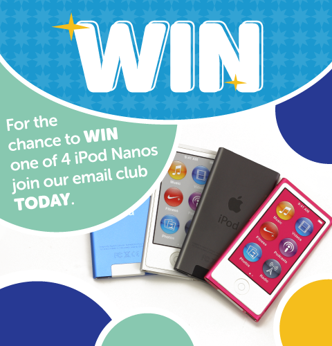 Join our email club to be in with a chance of winning one of 4 Apple iPod Nano
