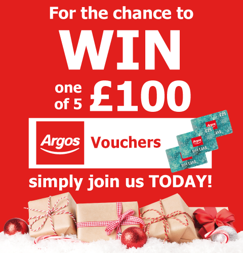 Enter our competition today to be in with a chance of winning £100 worth of Argos Gift Vouchers.