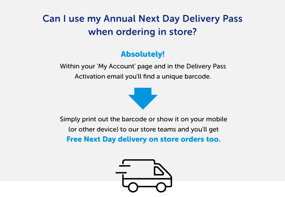 Using the Next Day Annual Delivery Pass in a store