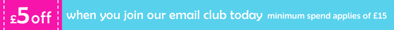 £5 off when you join our email club today minimum spend applies £15