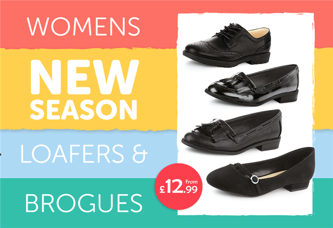 Womens New Season Loafers and Brogues from £12.99