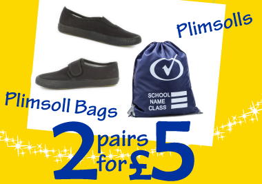 2 for £5 Plimsolls and Plimsolls Bags