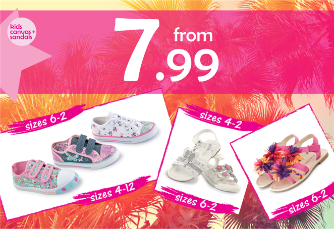 Kids Canvas and Sandals from £7.99