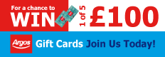 For a chance to WIN 1 of 5 £100 Argos Gift Cards