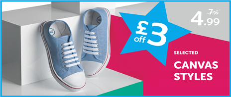 £3 off selected canvas styles - browse our range of Price Cuts today!