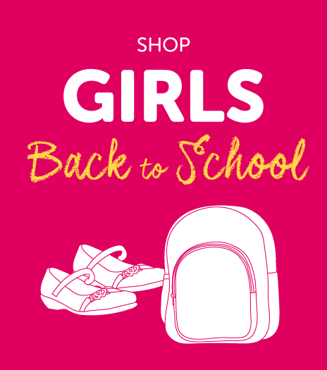 Shop our range of girls Back to School footwear & accessories
