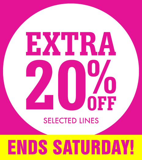 Extra 20% off Ends Saturday