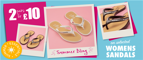 2 for £10 on Selected Womens Sandals
